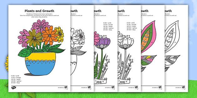 Plants and Growth Themed Mindfulness 2, 5 and 10 Times Tables Colour By Numbers - plants and growth, mindfulness, colouring, colour, times table, times tables