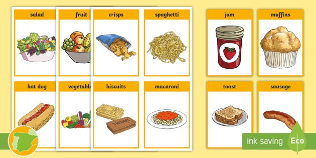 New a2 tarjetas de vocabulario la comida en ingl s - Alimentos en ingles vocabulario ...