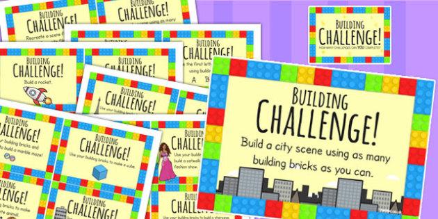 Building Block Challenge Cards - challenges, games, building blocks, toys