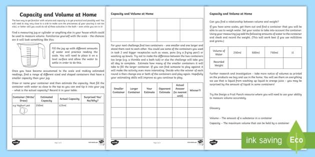 Capacity and Volume at Home Activity Sheet - capacity, volume, home, worksheet