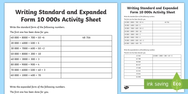 expanded form 48  Writing Standard and Expanded Form 7 7s Worksheet ...