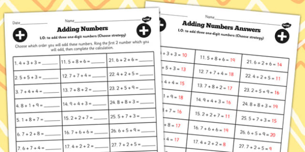 Adding Three One Digit Numbers Lesson 4 Choose Strategy Worksheet