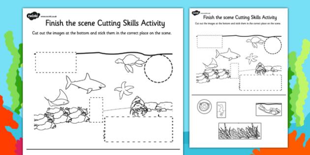 Under the Sea Finish the Scene Cutting Skills Activity Sheet Pack, worksheet