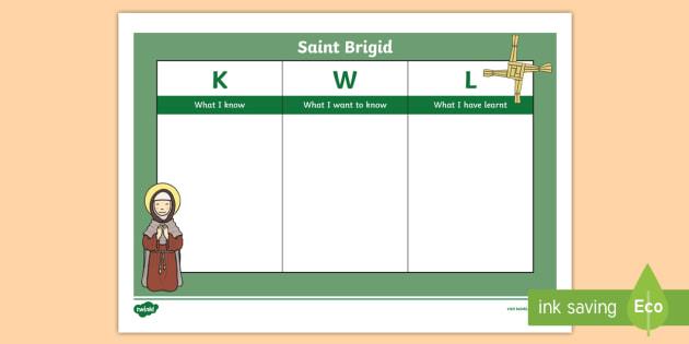 St. Brigid KWL Grid-Irish - ROI St. Brigid's Day, Ireland, Saint Brigid, February 1st, KWL Grid,Irish