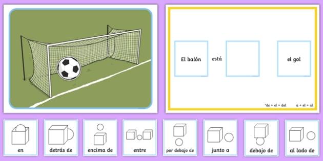 Juego de fútbol - preposiciones de lugar - posición, posicional, donde, deporte, pelota
