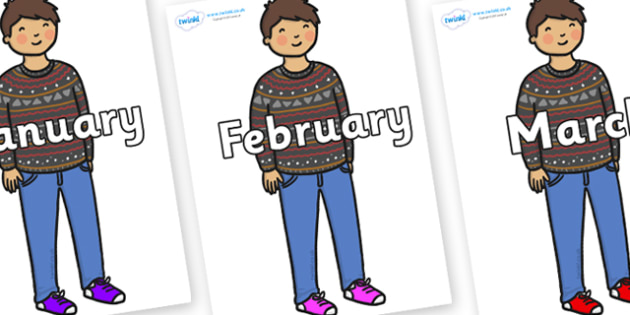 Months of the Year on Little Boy - Months of the Year, Months poster, Months display, display, poster, frieze, Months, month, January, February, March, April, May, June, July, August, September