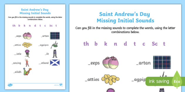 Saint Andrew's Day Missing  Initial Sounds Activity Sheet-Scottish, worksheet