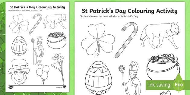 St Patricks Day Colouring Worksheet / Activity Sheet - st