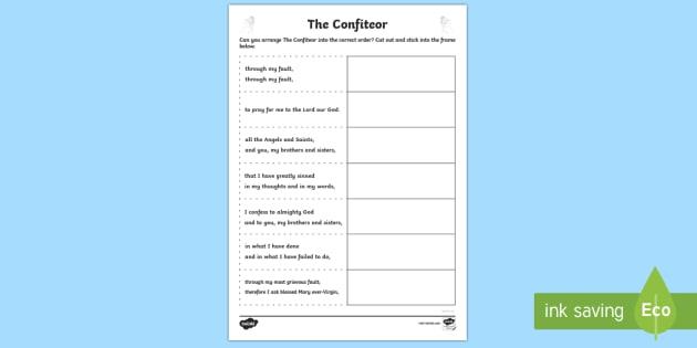 The Confiteor Sequencing Activity Sheet-Scottish - CfE Catholic Christianity, prayers, mass responses, The Confiteor. ,Scottish, worksheet