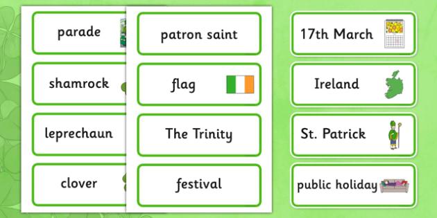 St. Patrick's Day Word Cards - Word cards, St Patricks Day, Word Card, flashcard, flashcards, Ireland, Irish, St Patrick, patron saint, leprechaun, 17 march