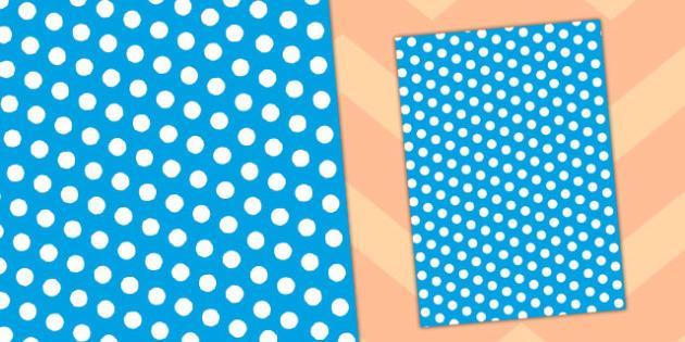 Blue and White Polka Dot Themed A4 Sheet - a4, sheet, polka, dot