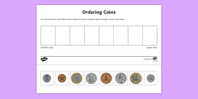coin ordering cut and paste worksheet activity sheet british money. Black Bedroom Furniture Sets. Home Design Ideas