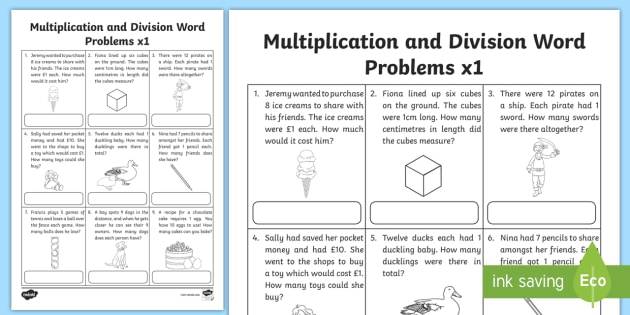 Multiplication and Division Word Problems x1 Worksheet / Worksheet