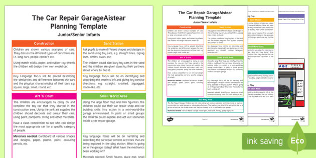 ROI The Car Repair Garage Planning Template - Aistear, Infants, English Oral Language, School, The Garda Station, The Hairdressers, The Airport, T