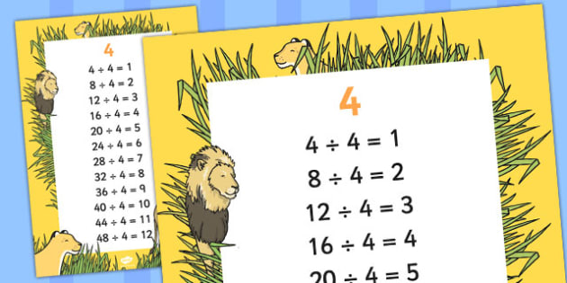 4 Times Table Division Facts Display poster - posters, displays