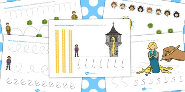 Rapunzel Pencil Control Path Worksheets - control path, rapunzel