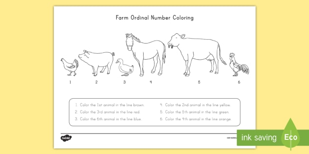 Farm Animals Coloring And Ordinal Number Worksheet Activity Sheet