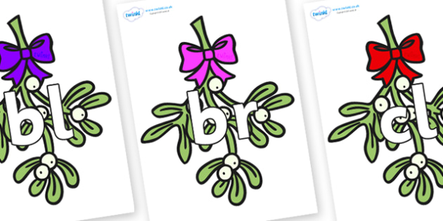Initial Letter Blends on Mistletoe - Initial Letters, initial letter, letter blend, letter blends, consonant, consonants, digraph, trigraph, literacy, alphabet, letters, foundation stage literacy
