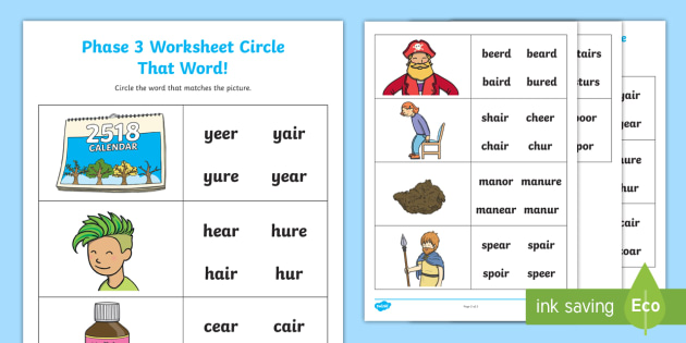 Ear Air And Ure Circle That Word Worksheet Phase 3 Spot The