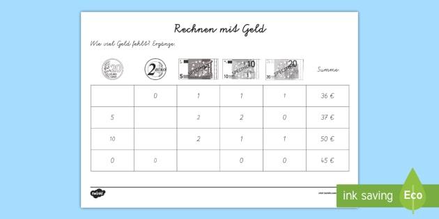rechnen mit geld 7 arbeitsblatt erstes rechnen addieren mathematik. Black Bedroom Furniture Sets. Home Design Ideas