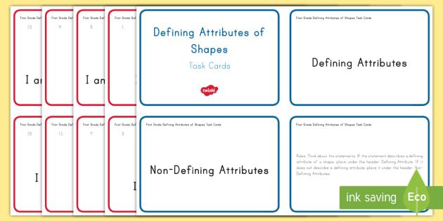 First Grade Defining Attributes Task Cards - Common Core, First Grade, Math, Task Cards, challenge, 2D, shape, describe, properties