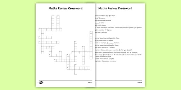 Maths Review Crossword