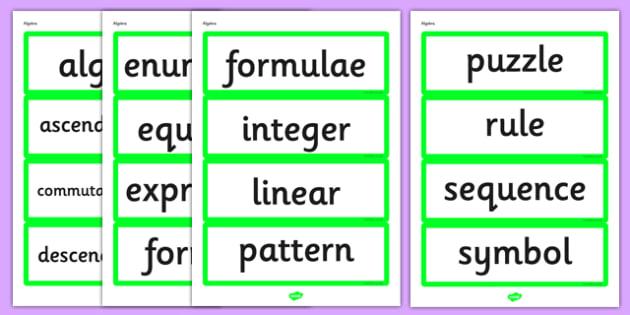 Year 6 2014 Curriculum Algebra Vocabulary Cards - vocab cards