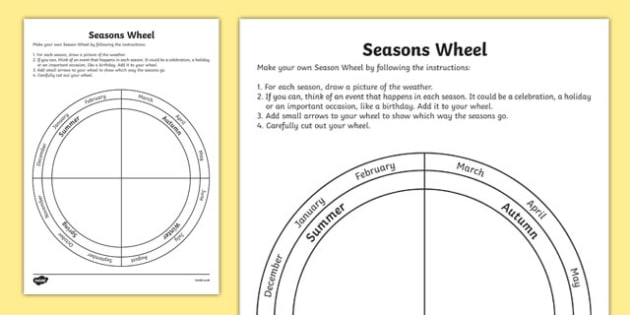 Seasons Wheel Activity Sheet - australia, seasons wheel, activity, sheet, science, seasons, wheel, worksheet