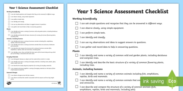 2014 Curriculum Year 1 Science Assessment Individual Checklist