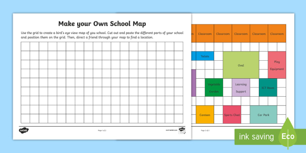 Make Your Own School Map Worksheet / Worksheet - Mathematics ...