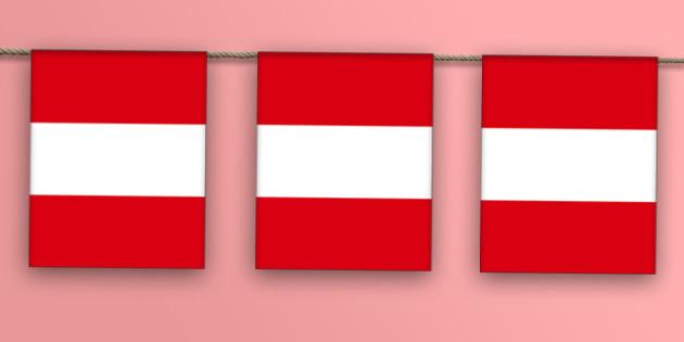 Peru Flag Bunting - peru flag, peru, flag, peruvian, bunting, display bunting, display