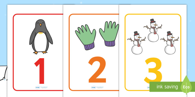Winter Themed Number Posters (1-20) -  Winter, numeracy, counting, number poster, number words, display banner, polar, arctic, display, winter words, Word card, flashcard, snowflake, snow, winter, frost, cold, ice, hat, gloves, display words