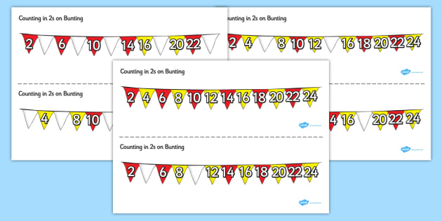 Counting in 2s on Bunting - counting, 2s, bunting, display, count