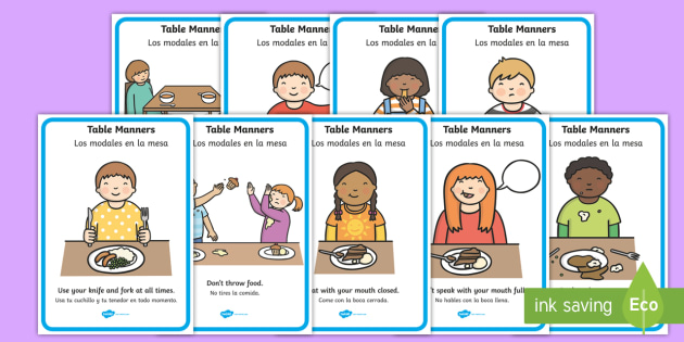 Table Manners Rules Display Posters Spanish - spanish, Table Manners Rules Display Poster, table manners, manners, rules, display, poster, sign, good manners, good behaviour, behaviour, eating, food, lunch, table, break