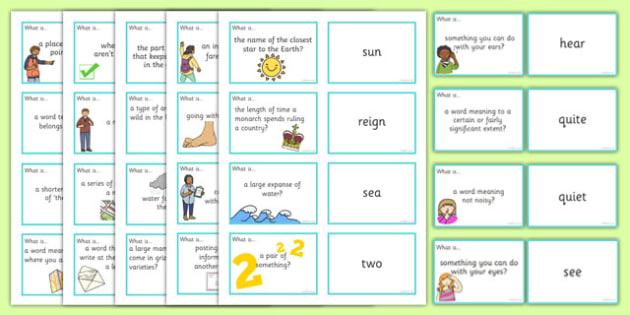 Homophones Question Matching Cards - homophones, question, matching, cards