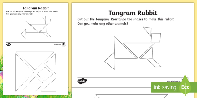 image relating to Tangram Shapes Printable named Easter Tangram Rabbit Condition Sorting Worksheet - designs