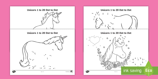 Unicorn-Themed 1 To 20 Dot To Dot Worksheets
