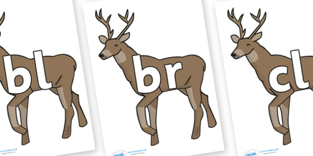 Initial Letter Blends on Stags - Initial Letters, initial letter, letter blend, letter blends, consonant, consonants, digraph, trigraph, literacy, alphabet, letters, foundation stage literacy