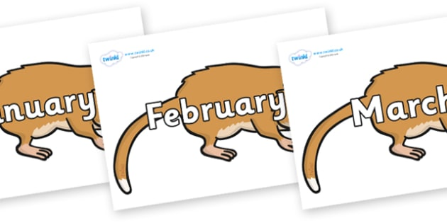 Months of the Year on Hamsters - Months of the Year, Months poster, Months display, display, poster, frieze, Months, month, January, February, March, April, May, June, July, August, September