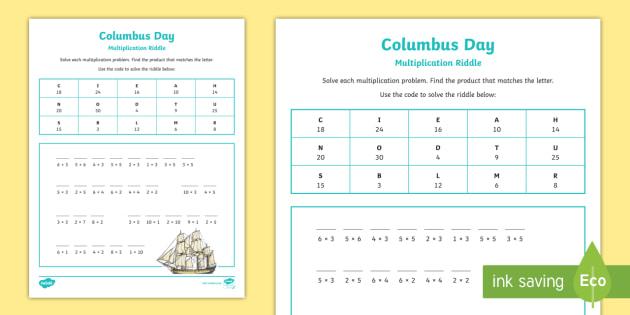 Columbus Day Multiplication Riddle Worksheet Activity Sheet