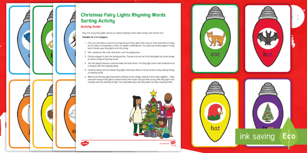 new christmas fairy lights rhyming words sorting activity eyfs christmas early years
