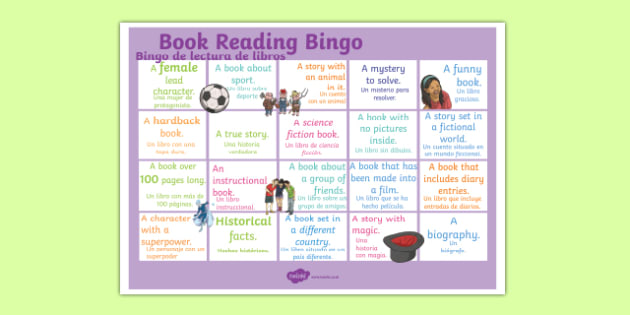Book Reading Bingo A3 Display Poster Spanish Translation--translation