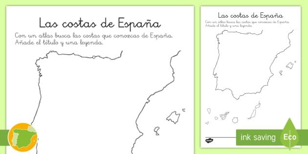 Costas De España Mapa.Ficha Las Costas De Espana Mapas De Espana La Playa Las