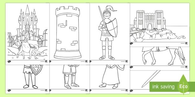 Castelli E Cavalieri Fogli Da Colorare Castello Cavaliere Medioevo