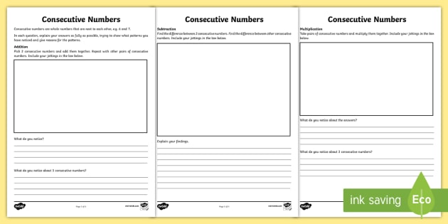 Consecutive numbers maths investigation worksheet activity consecutive numbers maths investigation worksheet activity sheet addition subtraction multiplication odds ibookread ePUb