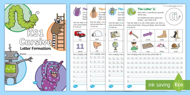 new ks1 cursive letter formation practice activity booklet. Black Bedroom Furniture Sets. Home Design Ideas