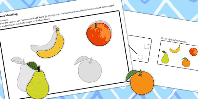 Workstation Pack Fruit Matching Activities Set 1 - match