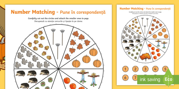 Number Matching Pegs Autumn Themed English/Romanian - Number Matching Pegs Autumn Themed - autumn, matching, pegs, seasons, september, october, numbers, m