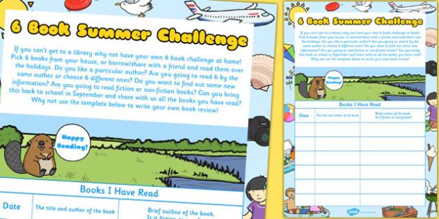 6 Book Summer Challenge Record Sheet - summer, challenge, record