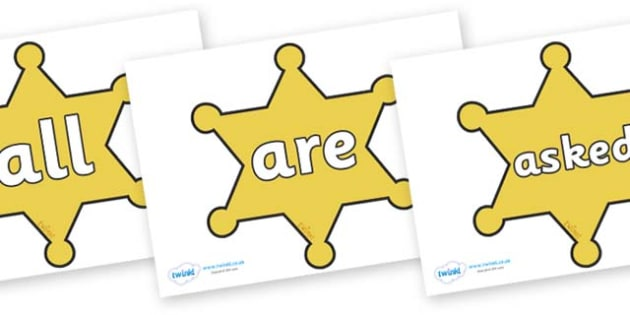 Tricky Words on Sheriffs Badges - Tricky words, DfES Letters and Sounds, Letters and sounds, display, words
